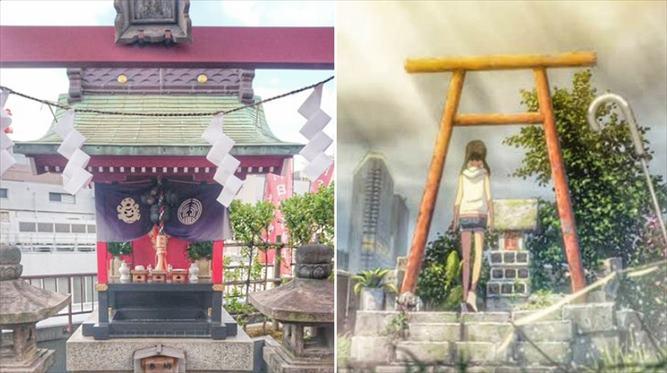 天気の子と朝日稲荷神社